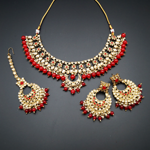 Rada Red & Gold Kundan Necklace Set - Antique Gold