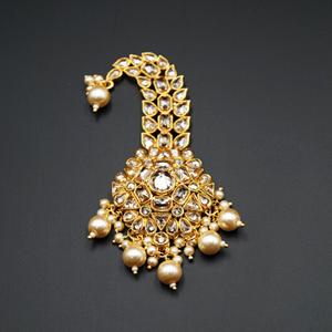 Raj - Gold Polki Stone Kalgi - Gold