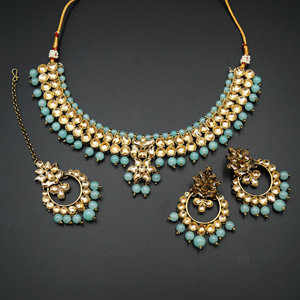 Jami Gold Kundan/Sky Blue Beads Necklace Set - Antique Gold