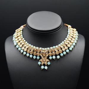 Jami Gold Kundan/Sky Blue Beads Necklace Set - Antique Gold