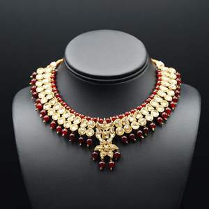 Jami Gold Kundan/Maroon Beads Necklace Set - Antique Gold