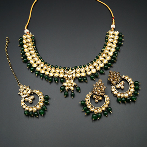 Jami Gold Kundan/Green Beads Necklace Set - Antique Gold