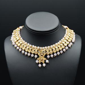 Jami Gold Kundan/Baby Pink Beads Necklace Set - Antique Gold