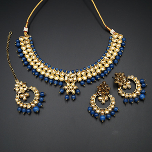 Jami Gold Kundan/Navy Blue Beads Necklace Set - Antique Gold