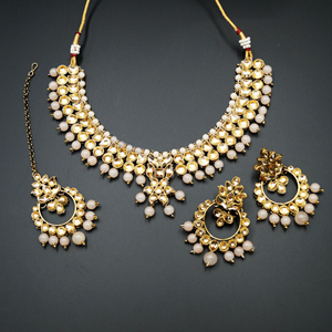 Jami Gold Kundan/Peach Necklace Set - Antique Gold