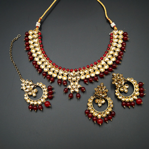 Jami Gold Kundan/Red Beads Necklace Set - Antique Gold