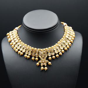 Jami Gold Kundan/Champagne Pearl Necklace Set - Antique Gold