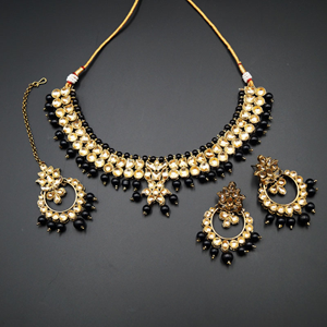 Jami Gold Kundan/Black Beads Necklace Set - Antique Gold