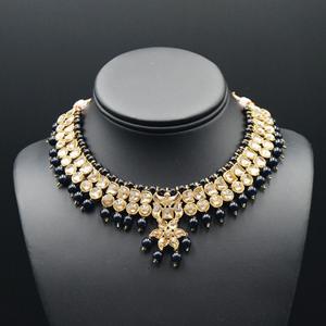 Jami Gold Kundan/Black Beads Necklace Set - Antique Gold