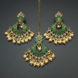 Jayu Green Meenakari Earring Tikka Set - Antique Gold
