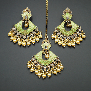 Jayu Pista Meenakari Earring Tikka Set - Antique Gold
