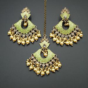 Jayu Pista Meenakari Earring Tikka Set - Antique Gold