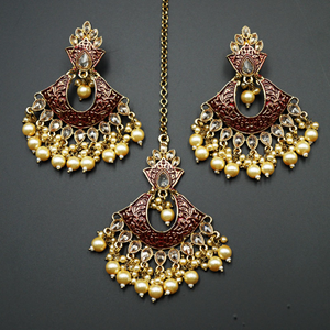 Jayu Maroon Meenakari Earring Tikka Set - Antique Gold