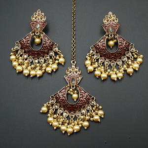 Jayu Maroon Meenakari Earring Tikka Set - Antique Gold