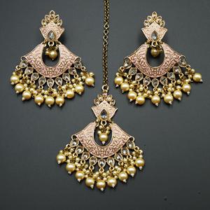 Jayu Baby Pink Meenakari Earring Tikka Set - Antique Gold