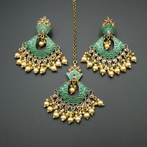 Jayu Mint Meenakari Earring Tikka Set - Antique Gold
