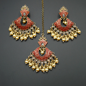 Jayu Red Meenakari Earring Tikka Set - Antique Gold