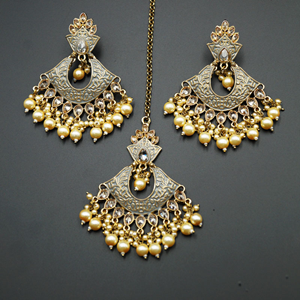 Jayu Grey Meenakari Earring Tikka Set - Antique Gold