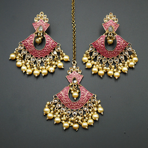 Jayu Cerise Meenakari Earring Tikka Set - Antique Gold