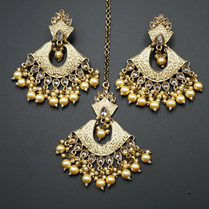 Jayu Cream Meenakari Earring Tikka Set - Antique Gold