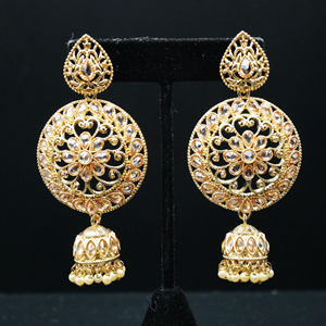 Saaj Gold Polki Stone Jhumka Earrings - Gold