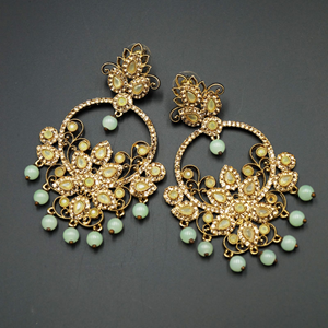 Ara Mint & Gold Diamante Earrings - Antique Gold