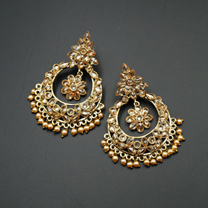 Dati Gold Polki Stone Earrings - Gold