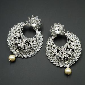 Zhil White Polki Stone Earrings - Silver
