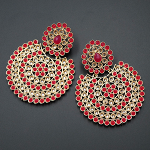 Writi Cerise & Gold Polki Stone Earrings - Gold