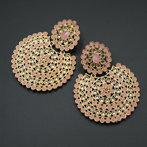 Writi Baby Pink & Gold Polki Stone Earrings - Gold