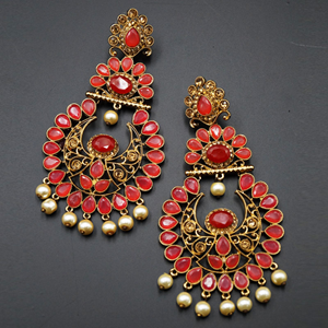 Ekaa Coral & Gold Stone Earrings - Antique Gold