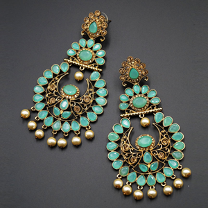 Ekaa Turquoise & Gold Stone Earrings - Antique Gold