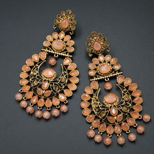Ekaa Peach & Gold Stone Earrings - Antique Gold