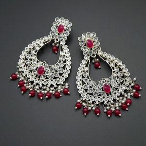 Ranu Pink & White Polki Stone Earrings - Silver