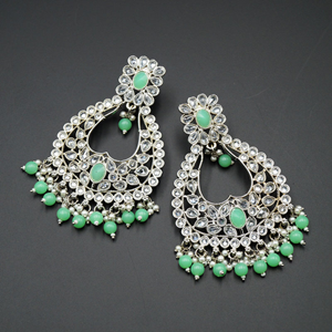 Ranu Pista & White Polki Stone Earrings - Silver