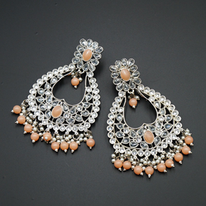 Ranu Peach & White Polki Stone Earrings - Silver