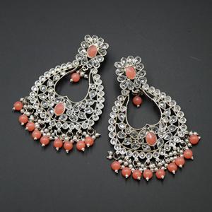 Ranu Coral & White Polki Stone Earrings - Silver