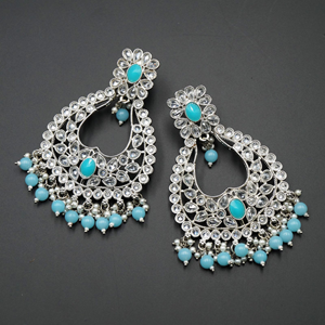 Ranu Light Blue & White Polki Stone Earrings - Silver