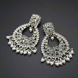 Ranu White Polki Stone Earrings - Silver
