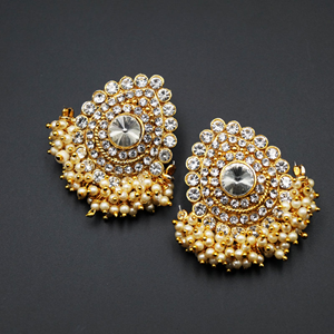 Vika White Diamante Stone Earrings - Gold