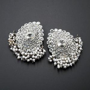 Vika White Diamante Stone Earrings - Silver