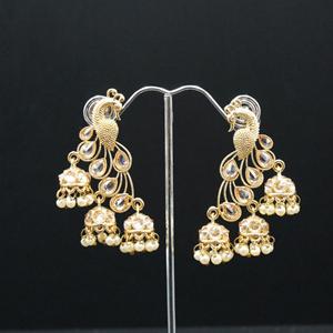Pama Gold Polki Stone Peacock Earrings - Gold