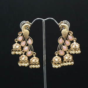 Pama Gold & Baby Pink Polki Stone Peacock Earrings - Gold