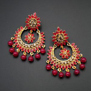 Sha Pink & Gold Stone Earrings - Gold