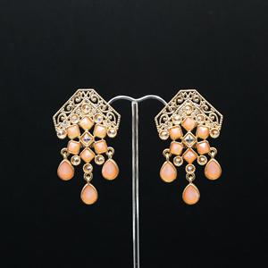 Cyli Peach & Gold Polki Stone Earrings - Gold