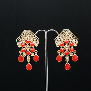 Cyli Red & Gold Polki Stone Earrings - Gold