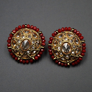 Hiral - Maroon & Gold Polki Stone Earrings - Antique Gold