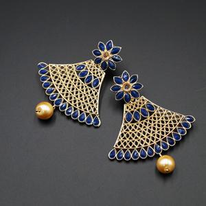 Xita Navy Blue & Gold Stone Earrings - Gold