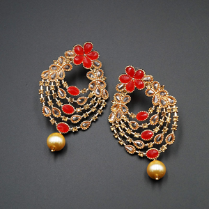 Ish Red & Gold Polki Stone Earrings - Gold