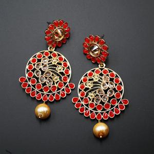 Fazla Red & Gold Polki Stone Earrings - Gold